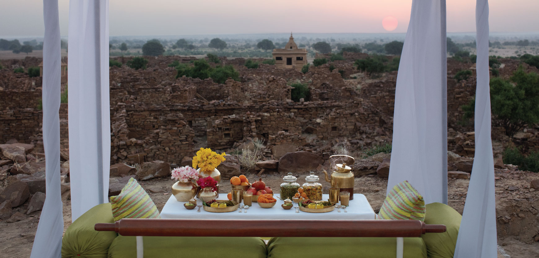Breakfast with Peacocks at Suryagarh